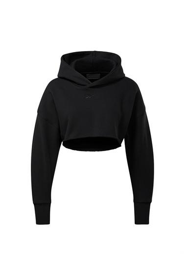 Reebok Reebok 101660584 Kapüşonlu Logo Nakışlı Kadın Crop Sweatshirt Siyah